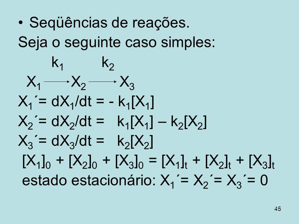 Seqüências de reações.Seja o seguinte caso simples: k1 k2. X1 X2 X3. X1´= dX1/dt = - k1[X1]